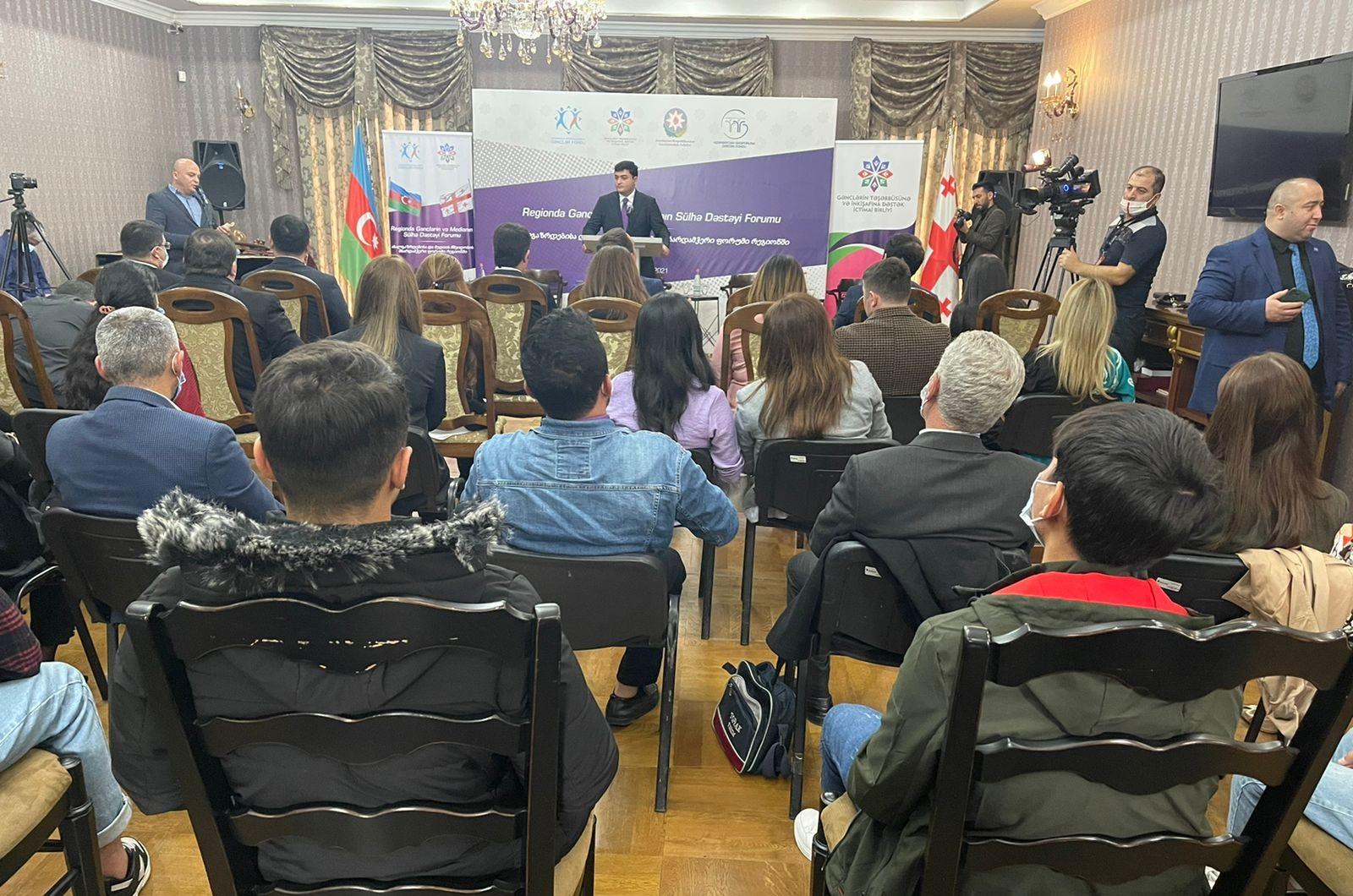 """Tbilisidə """"Regionda gənclərin və medianın sülhə dəstəyi"""" adlı forum keçirilib (VİDEO)"""